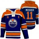 Mens Edmonton Oilers #11 Messier  Blue Lace Heavyweight Hoodie Hockey Jersey