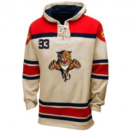 Mens Florida Panthers  Old Time White Lace Heavyweight Hoodie Hockey Jersey