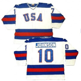 USA Olympic 1980 Miracle on Ice White Mark Johnson Hockey Jersey