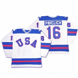 USA Olympic 1980 Miracle on Ice White Mark Pavelich Hockey Jersey