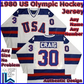 USA Olympic 1980 Miracle on Ice White Jim Craig Hockey Jersey