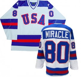 1980 Team USA White Hockey Jersey Miracle 80