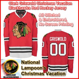 Chevy Chase Clark Griswold Christmas Vacation Blackhawks Red Hockey Jersey