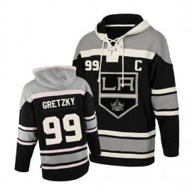 Mens LA Kings  99 Gretzky  Black Lace Heavyweight Hoodie Hockey Jersey