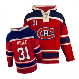 Mens Montreal Canadiens #31 Price Red Lace Heavyweight Hoodie Hockey Jersey