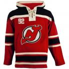 Mens New Jersey Devils Old Time Red Lace Heavyweight Hoodie Hockey Jersey