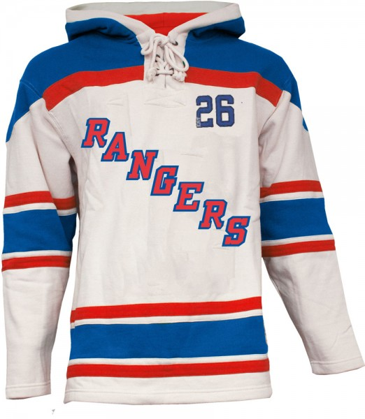 best service 89028 81456 Mens NY Rangers Style 1 White Lace Heavyweight Hoodie Hockey ...