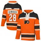 Mens Philadelphia Flyer #28 Giroux Orange Lace Heavyweight Hoodie Hockey Jersey