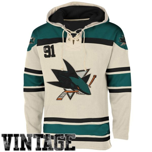 reputable site b5656 711bf Mens San Jose Sharks Old Time White Lace Heavyweight Hoodie ...
