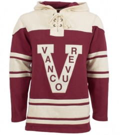 Mens Vancouver Millionaires Old Time Burgundy Lace Heavyweight Hoodie Hockey Jersey