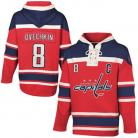 Mens Washington Capitals #8 C Ovechkin Red Lace Heavyweight Hoodie Hockey Jersey
