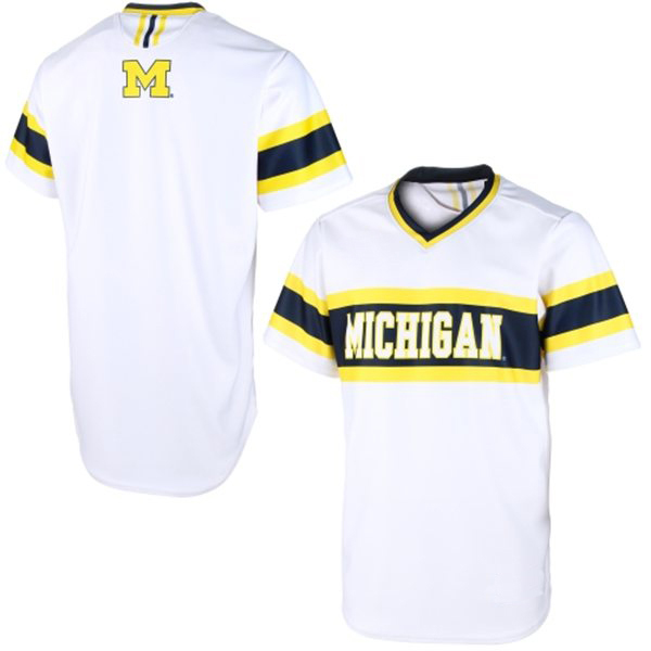 sale retailer 93528 ab153 Michigan Wolverines White NCAA College Baseball Jersey