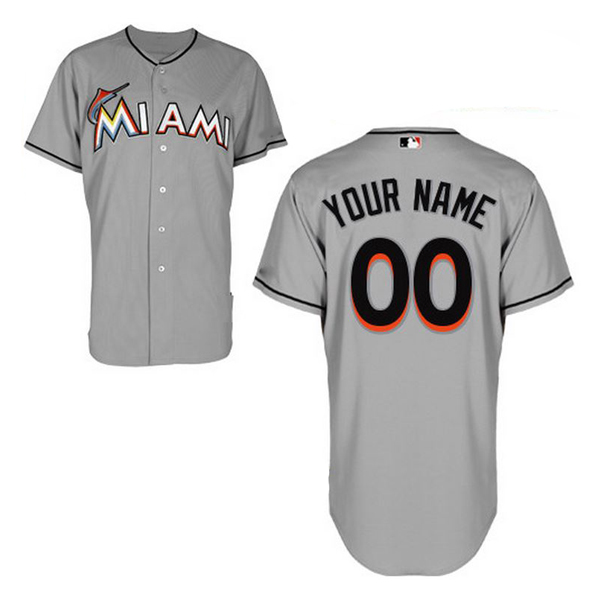Miami Marlins Authentic Style Personalized Road Gray Jersey