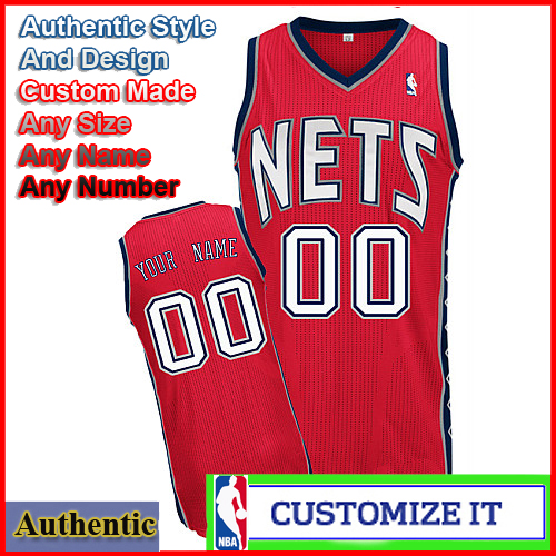 wholesale dealer 280d9 6dbb7 New Jersey Nets Custom Authentic Style Road Jersey Red