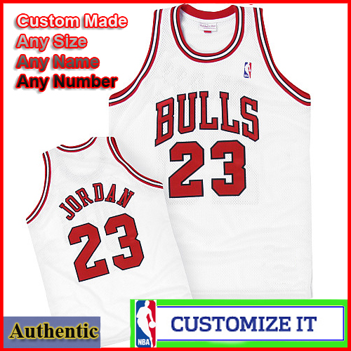 timeless design cb09b c00d2 Chicago Bulls Throwback Authentic Style Jersey White #23 ...