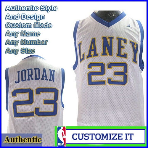sale retailer b5fce cca33 Laney High School Authentic NBA Style Jersey White #23 ...