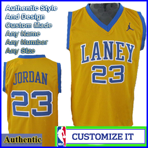 new concept a08e3 5104f Laney High School Authentic NBA Style Jersey Yellow #23 ...