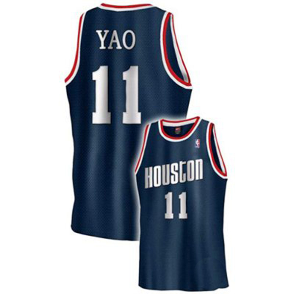 official photos 52607 9bb9b Yao Ming #11 Houston Rockets Authentic Style Alt Blue ...