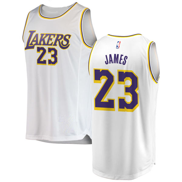 ca4e51289d8 LeBron James #23 Los Angeles Lakers Authentic Style Away White Jersey