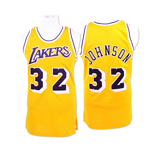 LA Lakers Throwback Authentic Style Jersey Gold #32 Magic Johnson