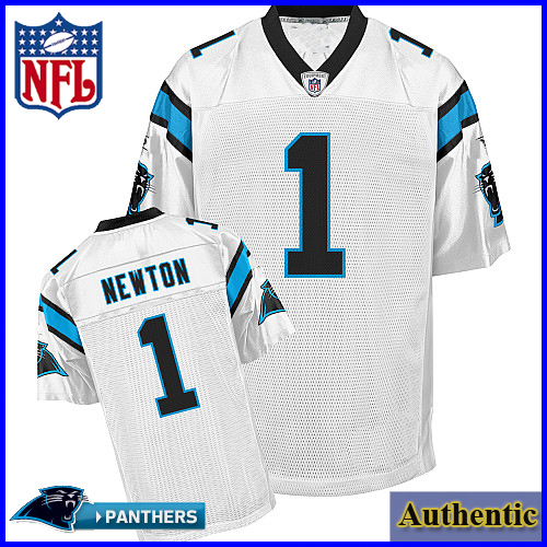 buy popular 0b702 5c3ae Carolina Panthers NFL Authentic White Football Jersey #1 Cam ...