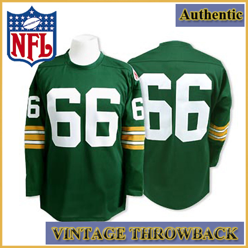 Green Bay Packers Authentic Throwback Long Sleeve Green Jersey #66 ...