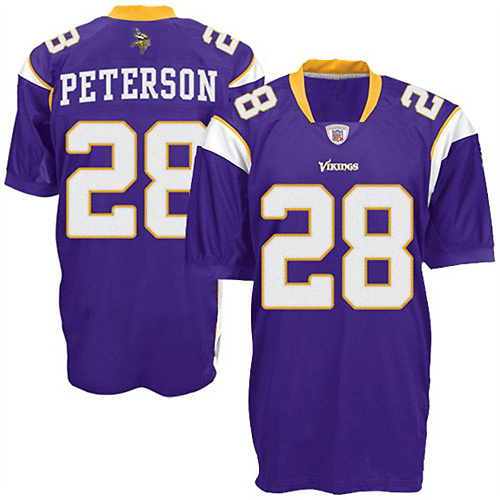 newest 7adbd 54ccd Minnesota Vikings NFL Authentic Purple Football Jersey #28 ...