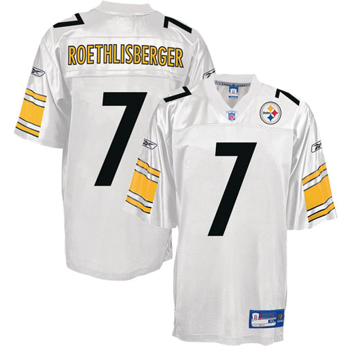 sports shoes 9bf4c aa7d9 Pittsburgh Steelers NFL White Football Jersey #7 Ben ...
