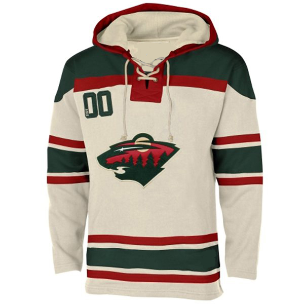 check out 9ea52 350ba Mens Minnesota Wild Old Time White Lace Heavyweight Hoodie ...