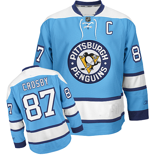 new concept 9433b 2ae1b Pittsburgh Penguins Authentic Style Light Blue Jersey #87 ...